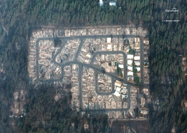 DigitalGlobe satellite image shows damages in the Kilcrease circle community aftermath of the Camp Fire in Paradise California